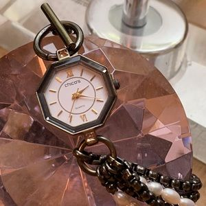 Chico's Vintage Pearl Crystal Chain Toggle Watch
